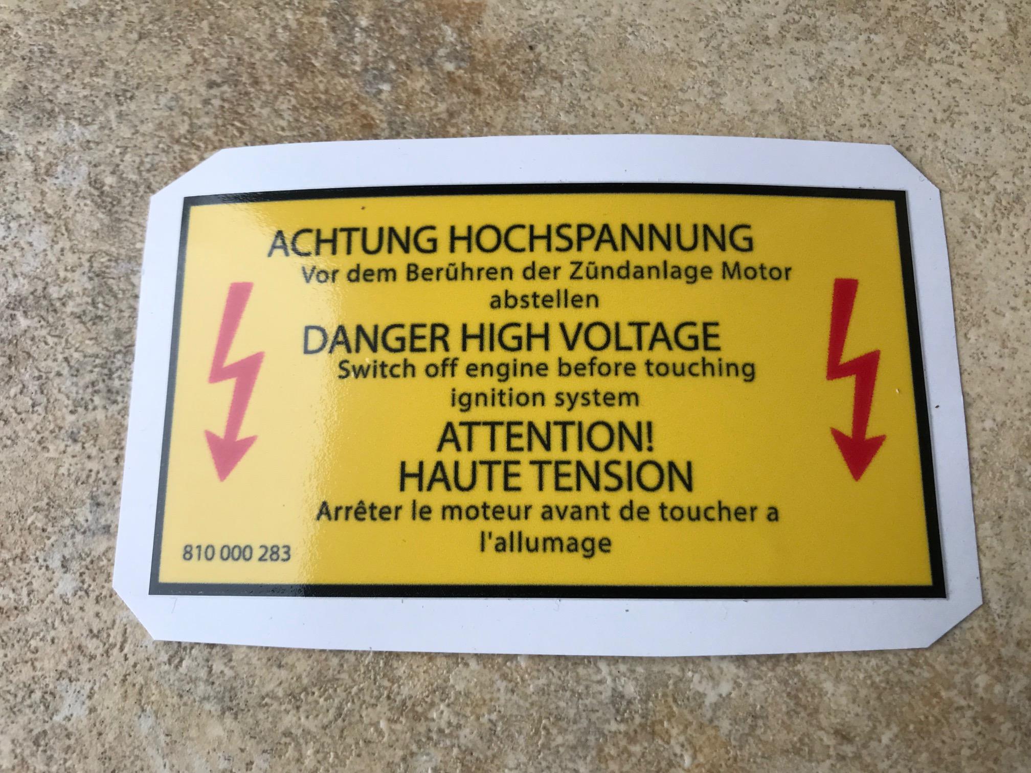 Danger High Voltage 810000283 Vw Golf 1